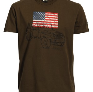 MAN T-SHIRT CAR/US FLAG - BROWN