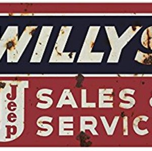 "Riproduzione targa ""Willys Jeep Sales and Service"""